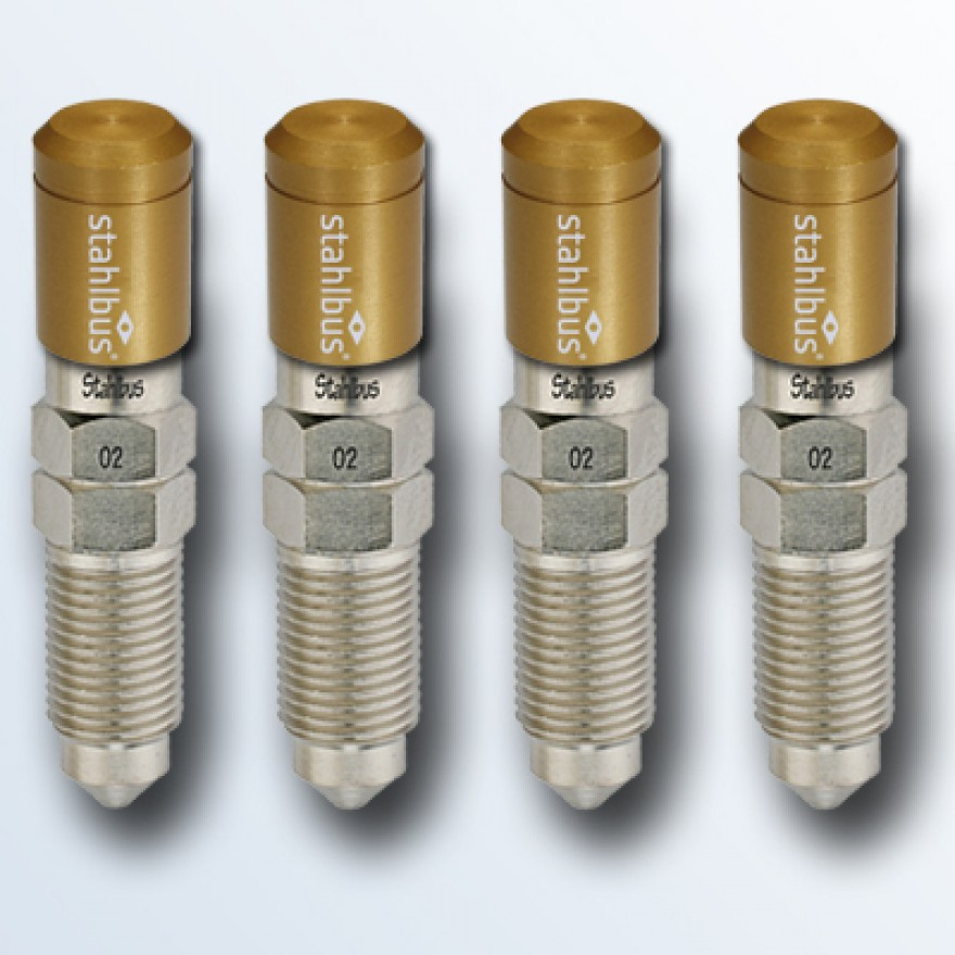 4-piece set stahlbus Bleeder valve M10x1.0x20mm (L), steel with golden dust cap