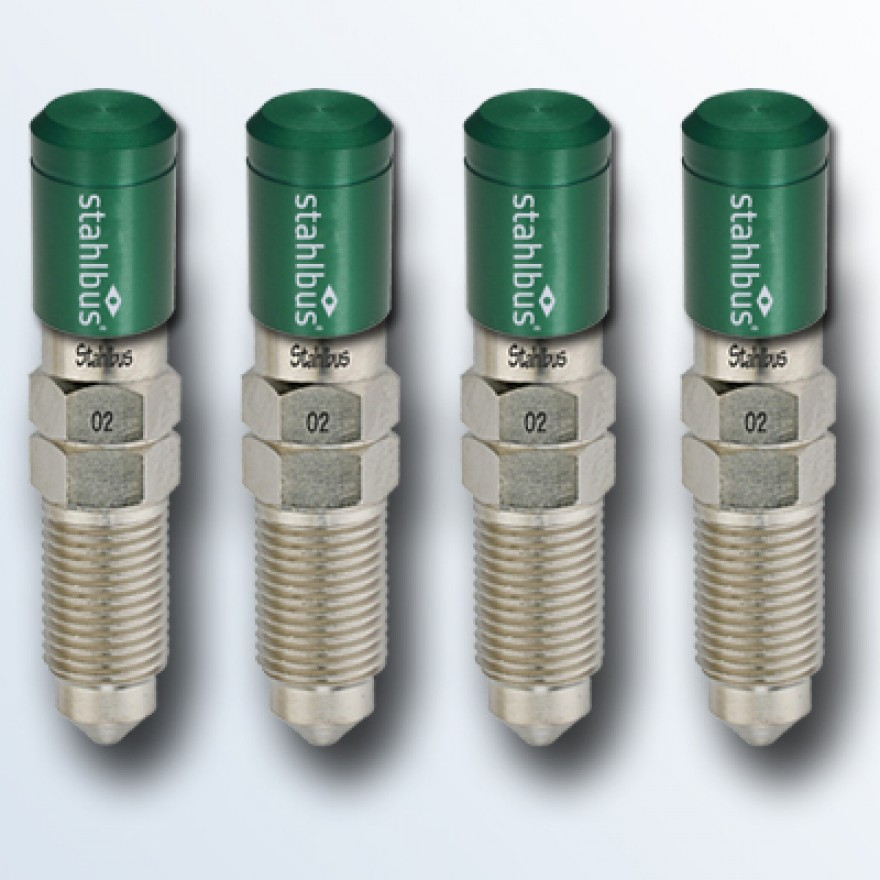 4-piece set stahlbus Bleeder valve M10x1.0x20mm (L), steel with green dust cap