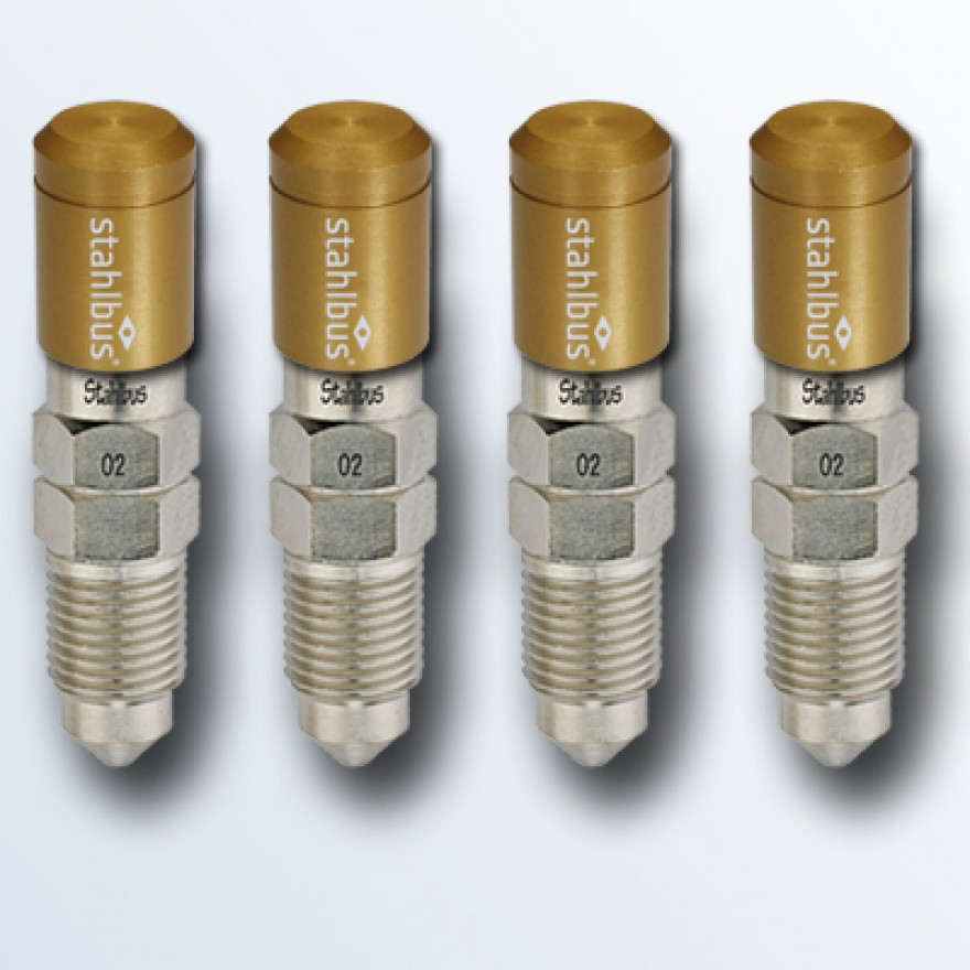 4-piece set stahlbus Bleeder valve M10x1.0x16mm (M), steel with golden dust cap