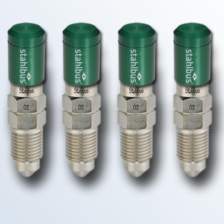 4-piece set stahlbus Bleeder valve M10x1.5x20mm, steel with green dust cap