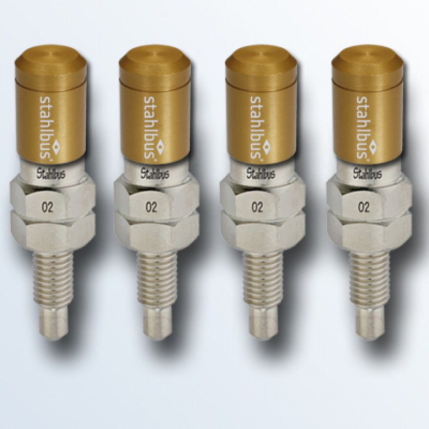 4-piece set stahlbus Bleeder valve 1/4 inches-28UNFx16mm, steel with golden dust cap