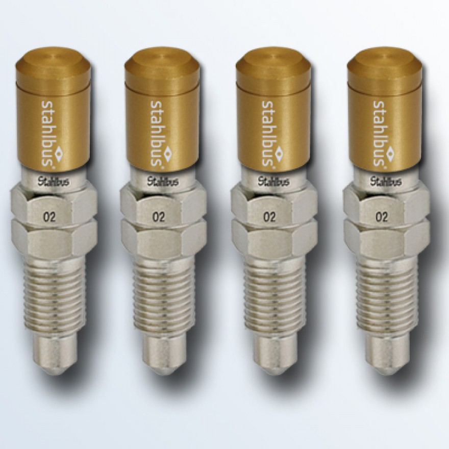 4-piece set stahlbus Bleeder valve 3/8 inches-24UNFx16mm (M), steel with golden dust cap
