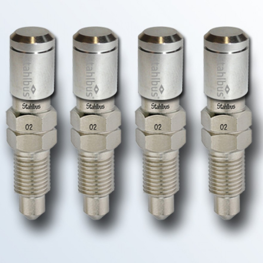 4-piece set stahlbus Bleeder valve 3/8 inches-24UNFx16mm (M), steel with nickel plated dust cap