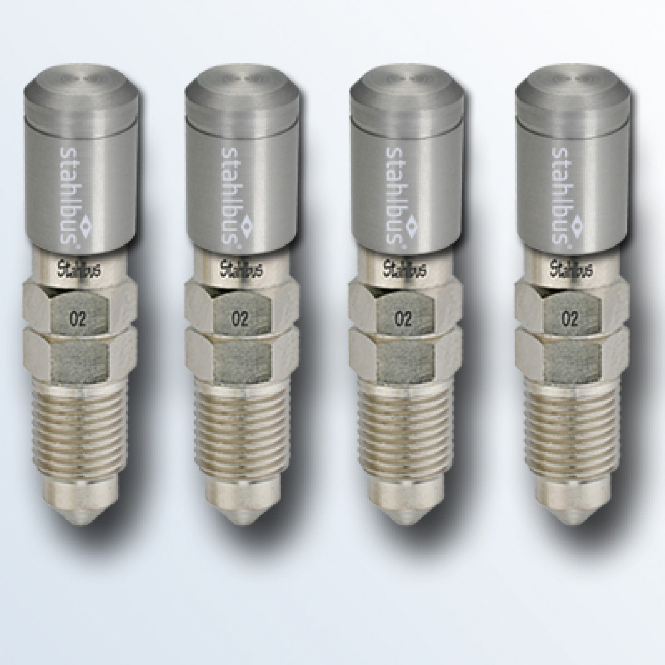 4-piece set stahlbus Bleeder valve M10x1.5x20mm, steel with natural dust cap