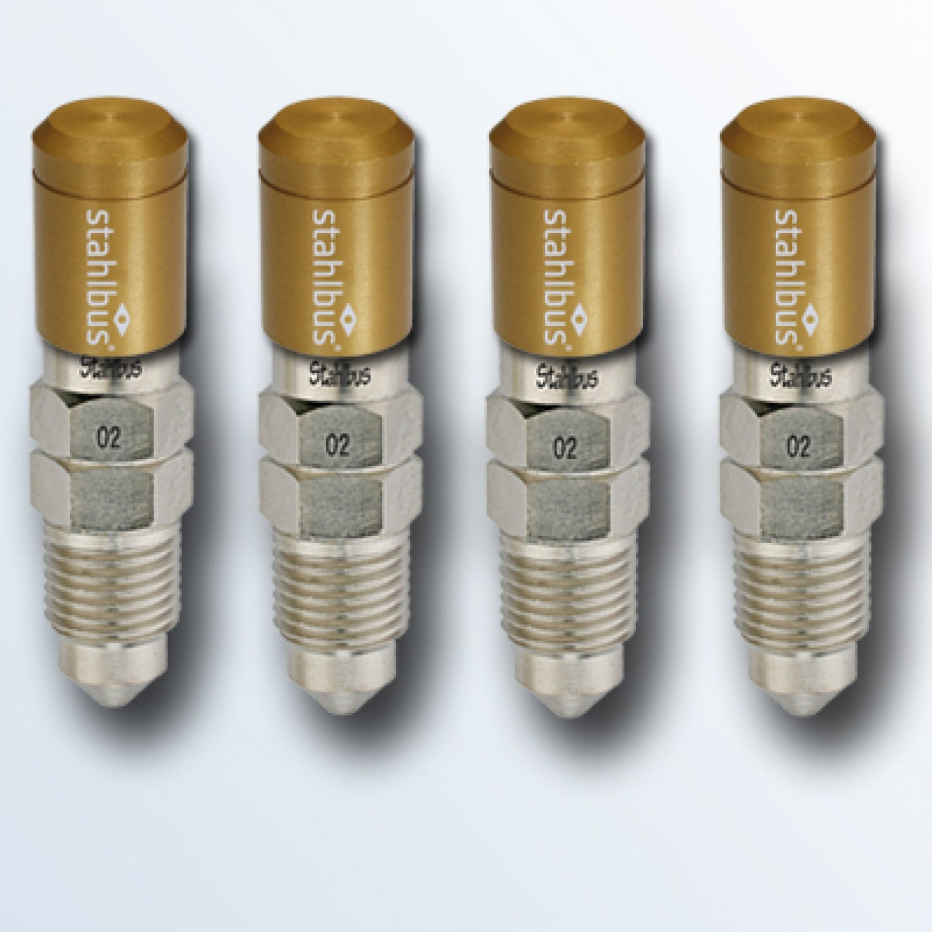 4-piece set stahlbus Bleeder valve M10x1.0x14mm (S), steel with golden dust cap
