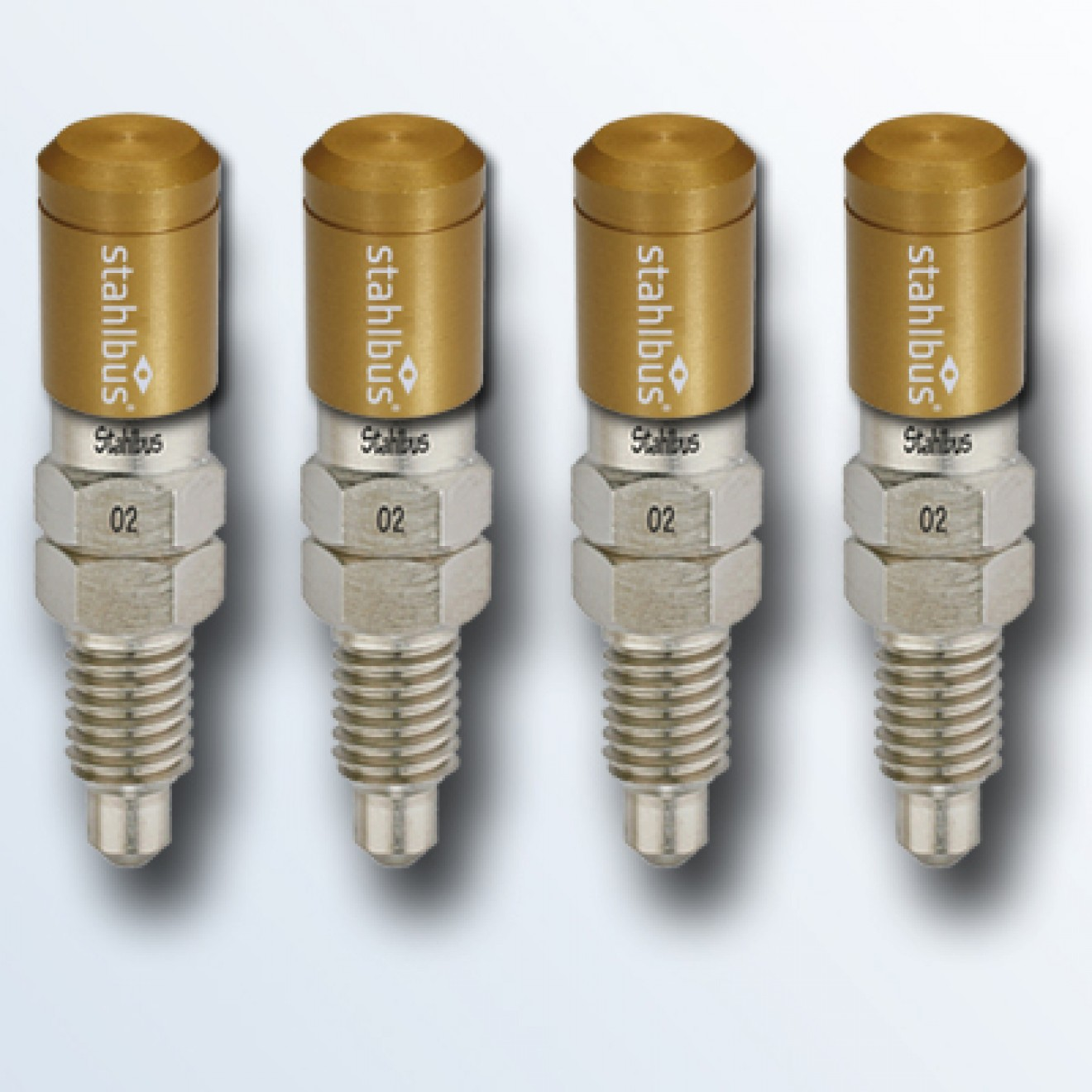 4-piece set stahlbus Bleeder valve M8x1.25x20mm, steel with golden dust cap