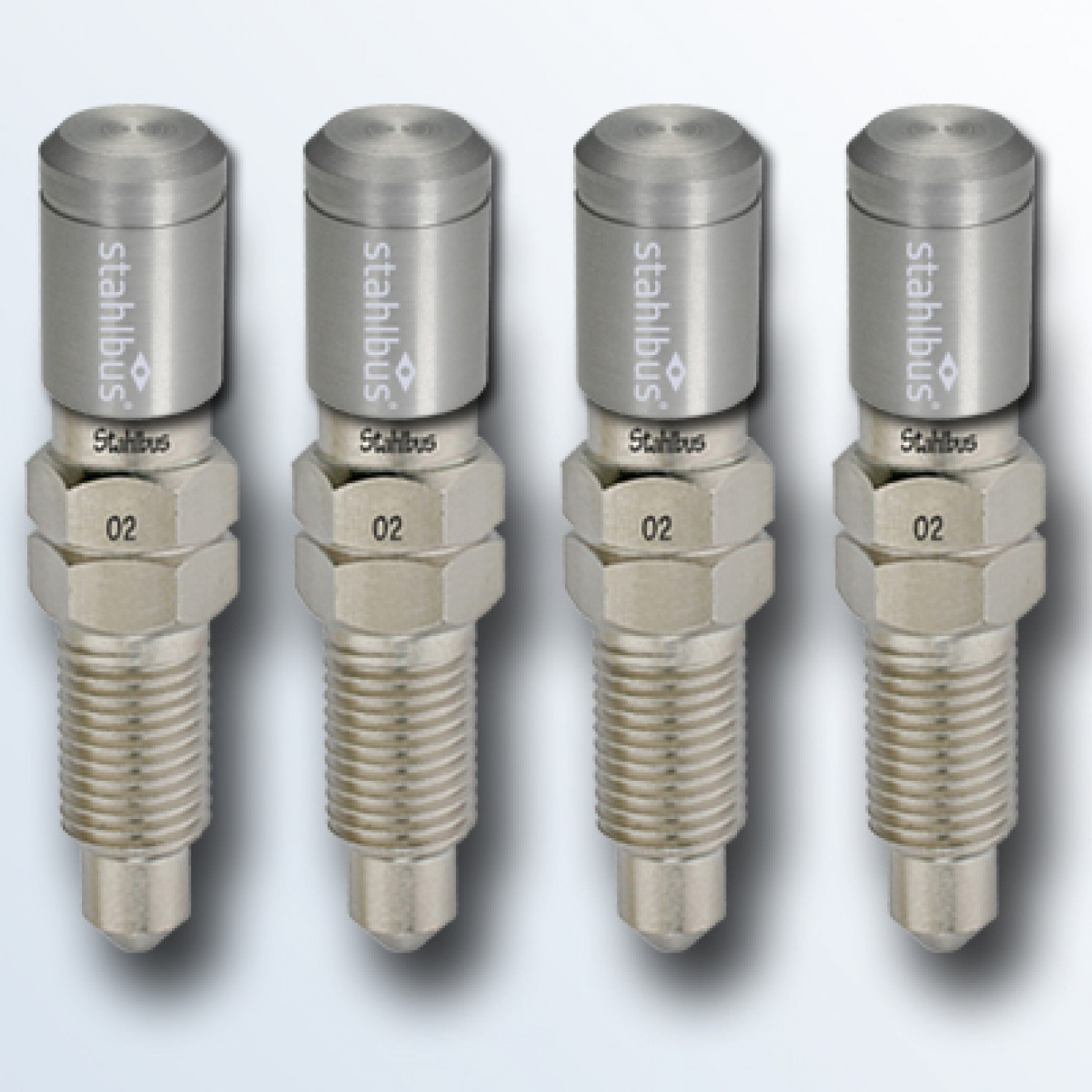 4-piece set stahlbus Bleeder valve 3/8 inches-24UNFx22mm (L), steel with natural dust cap