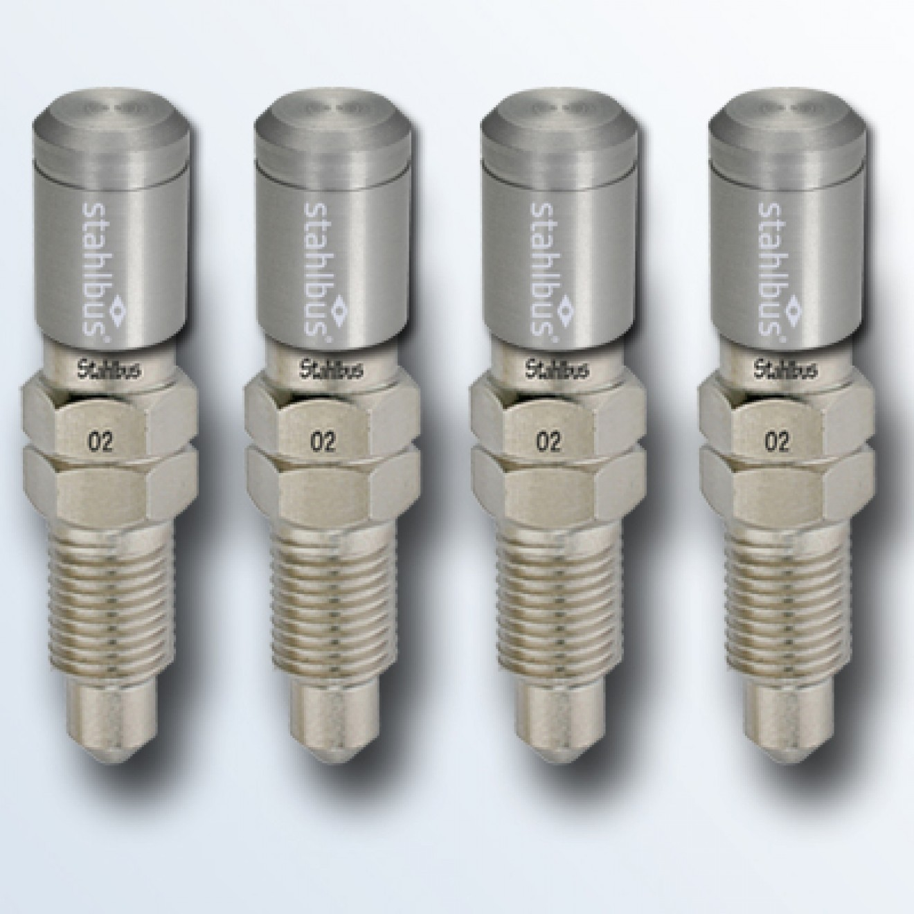 4-piece set stahlbus Bleeder valve 5/16 inches-24UNFx16mm, steel with natural dust cap