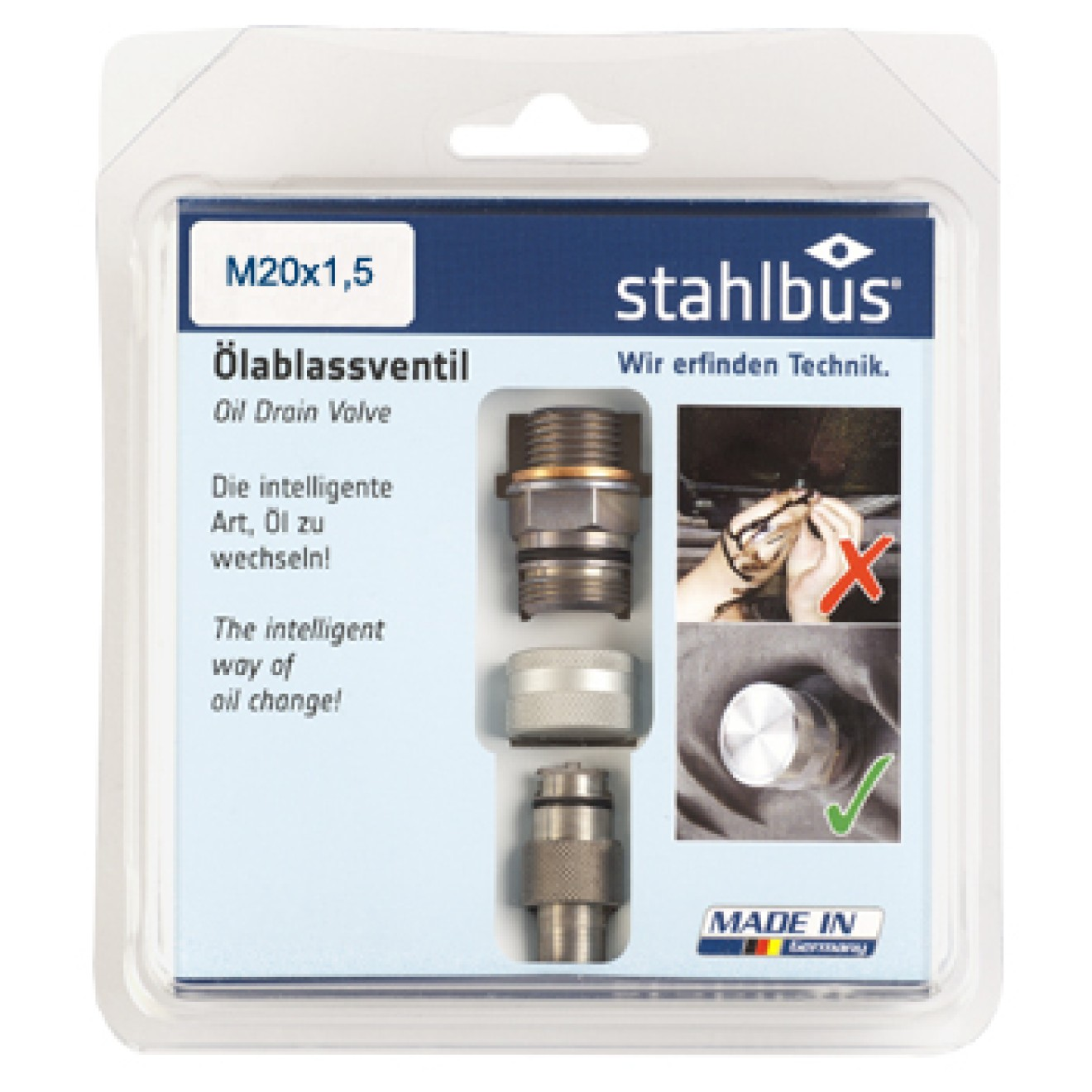 stahlbus Oil Drain Valve M20x1.5x12mm, steel (set)